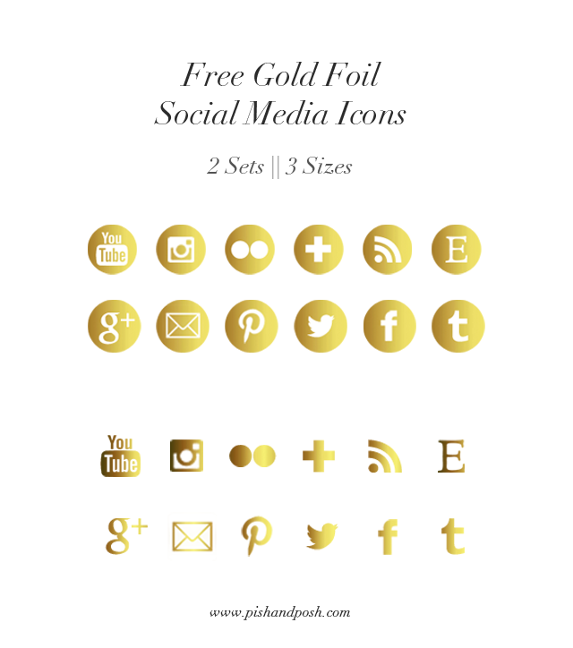 Free Gold Foil Social Media Icons for Your Blog | Pish and Posh Designs
