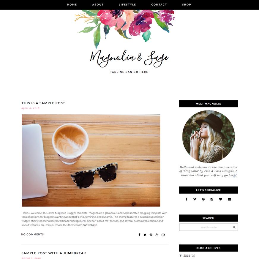 Instant Digital Download Feminine Pink and White Blogger Template Premade Blog Theme Design Giselle